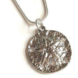 "Jewelry - Silver Sand Dollar Sea Life Necklace 18"" Pendant"